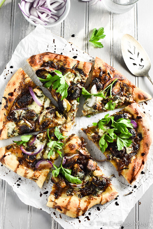 Blue Cheese and Roasted Brussels Sprouts Pizza