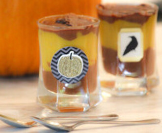 Pumpkin-Chocolate Shot Glass Desserts for Halloween