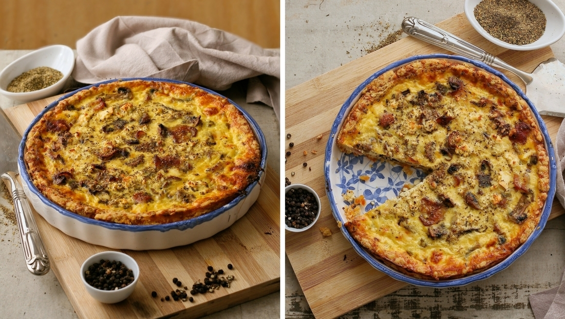 Bacon and Mushroom Quiche (with the tastiest quiche crust ever!)