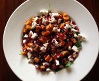 Roast pumpkin, feta and pomegranate seed salad