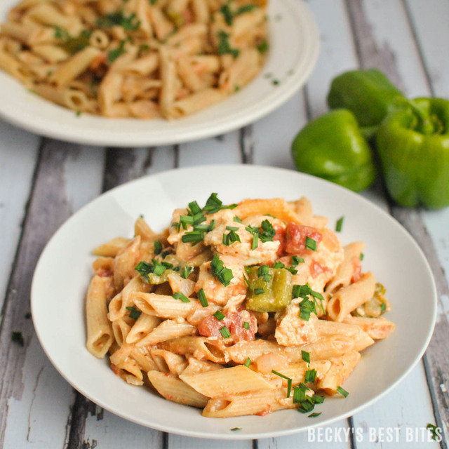 Creamy Harissa Spiced Chicken Pasta with Peppers