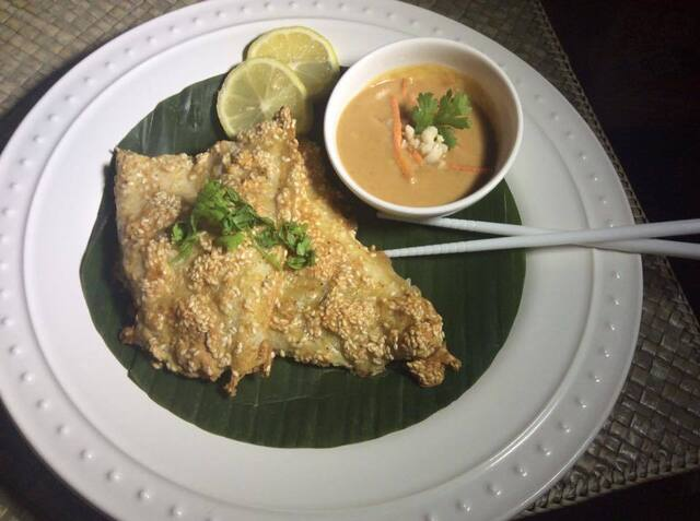 Baked, Sesame-crusted Swai Fillet With Thai Peanut Sauce