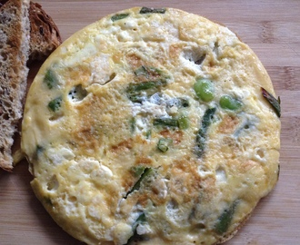 Spring vegetables and feta frittata