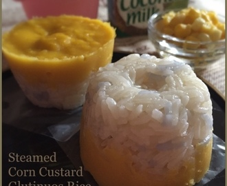 Steamed Corn Custard Glutinuos Rice Cake 蒸玉米糯米糕