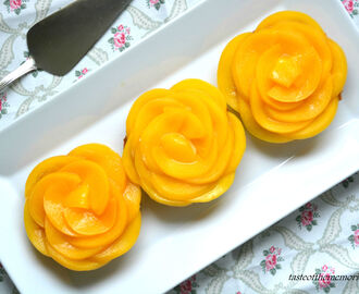 Tartlets with peach rosettes