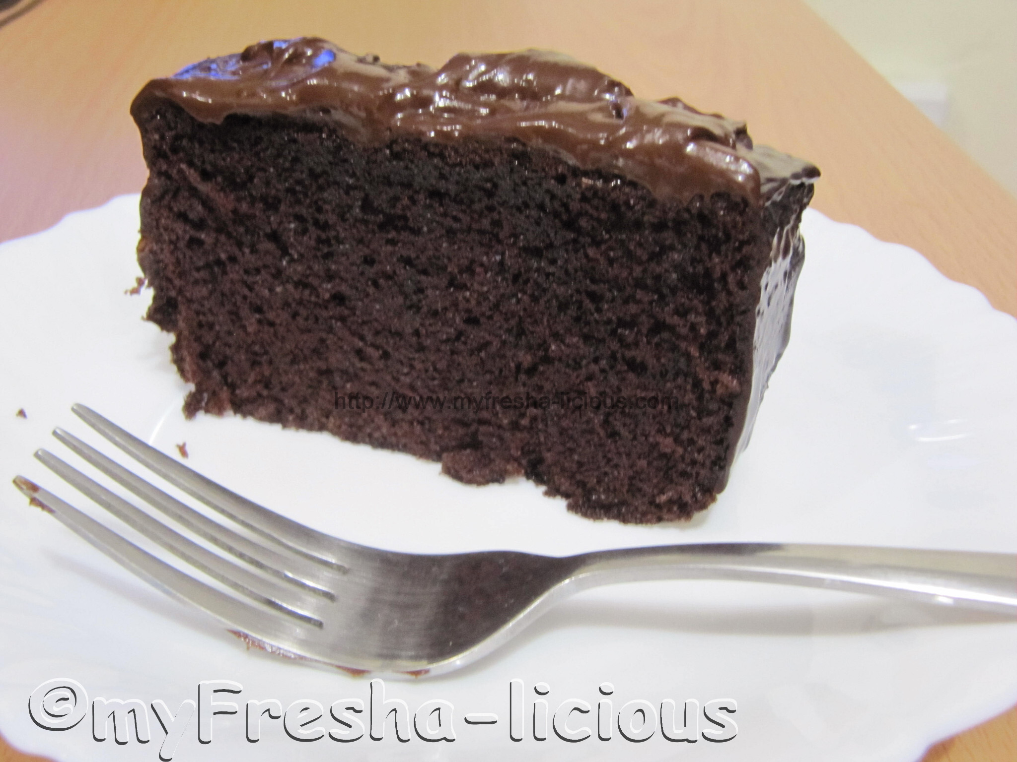 Moist Dark Chocolate Cake with Dark Chocolate Ganache