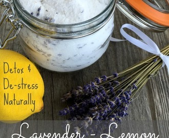DIY stress-relieving FOOT SOAK and DETOX: Relieve stress and ditch toxins with this soothing lavender-lemon recipe.