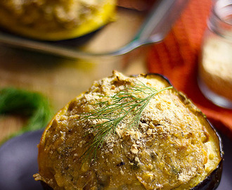 Stuffed Acorn (Pepper) Squash Recipe with Creamy Dill Potato and Tofu Filling