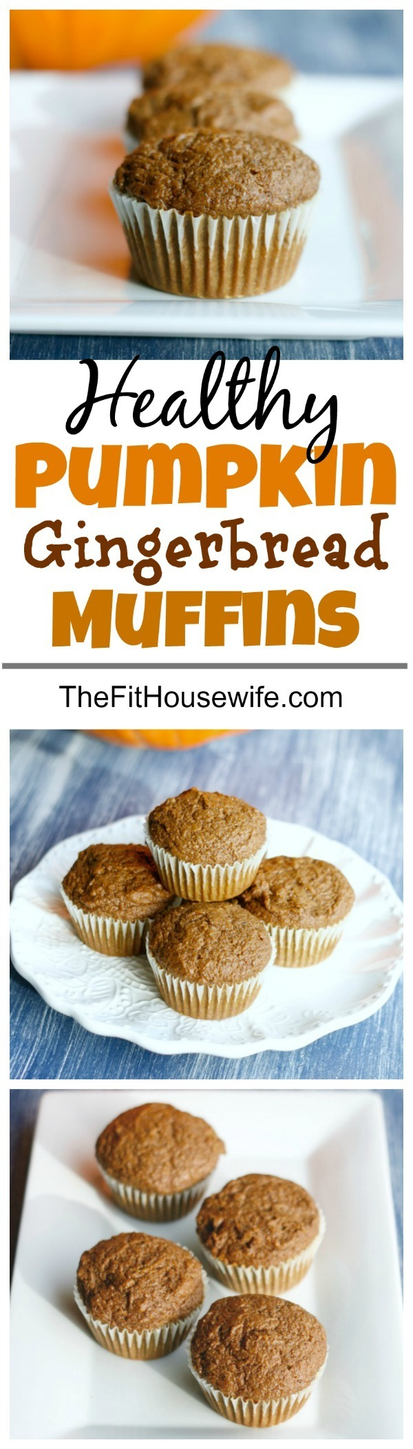 Healthy Pumpkin Gingerbread Muffins