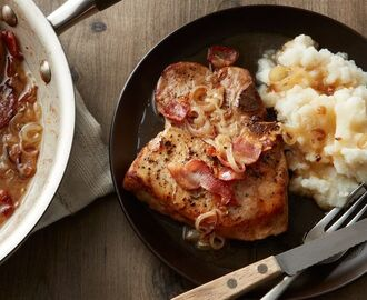Skillet Pork Chops in Bacon-Cider Sauce