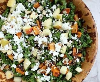 Kale Salad with Wild Rice, Sweet potatoes, Apples, Almonds, and Goat Cheese