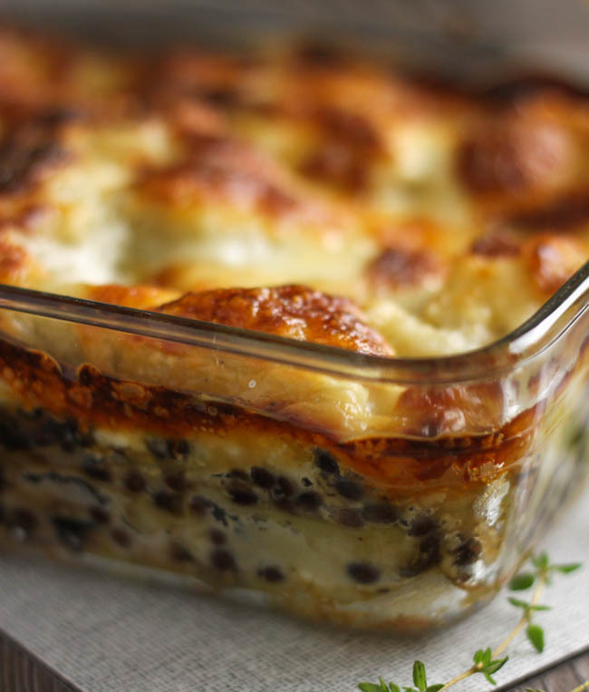 Puy lentil lasagne with a creamy goat's cheese sauce