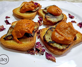 BERENJENAS ASADAS CON SALSA ROMESCO/ ROASTED EGGPLANTS WITH ROMESCU SAUCE