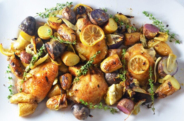 Lemon Roasted Chicken with Artichokes, Fennel, and Potatoes