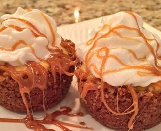 MINI PUMPKIN CHEESECAKES IN A PECAN CRUST WITH CARAMEL DRIZZLE