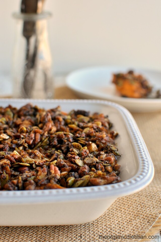 Sweet Potato Casserole with Molasses Candied Nut Crunch