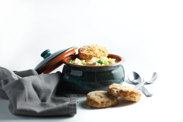 Chicken Pot Pie Soup with Cheddar Buttermilk Biscuit Topping
