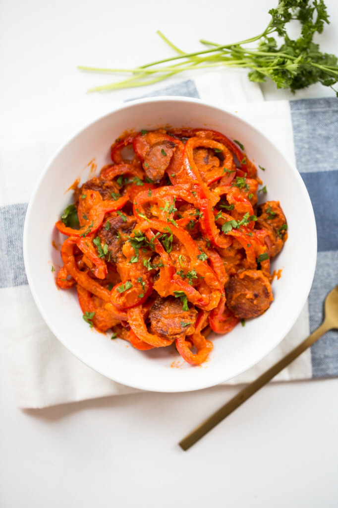 Spiralized Red Bell Peppers with Sundried Tomato Cream Sauce and Andouille Sausage
