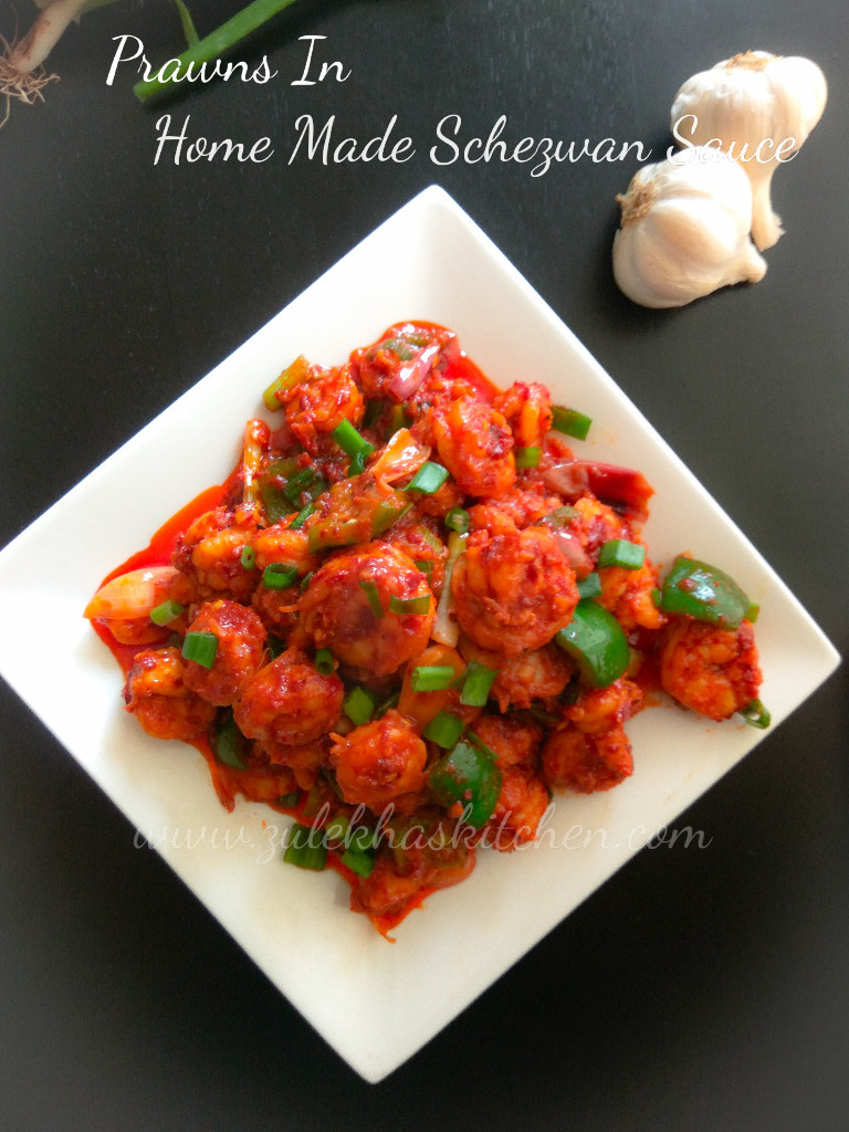 Prawns in home made schezwan sauce