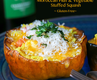 Moroccan Pilaf and Vegetable Stuffed Squash – A Vegetarian Thanksgiving Dish (Gluten-Free)