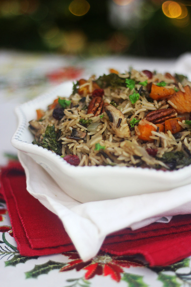 Winter Wild Rice Pilaf with Butternut Squash, Kale and Cranberries