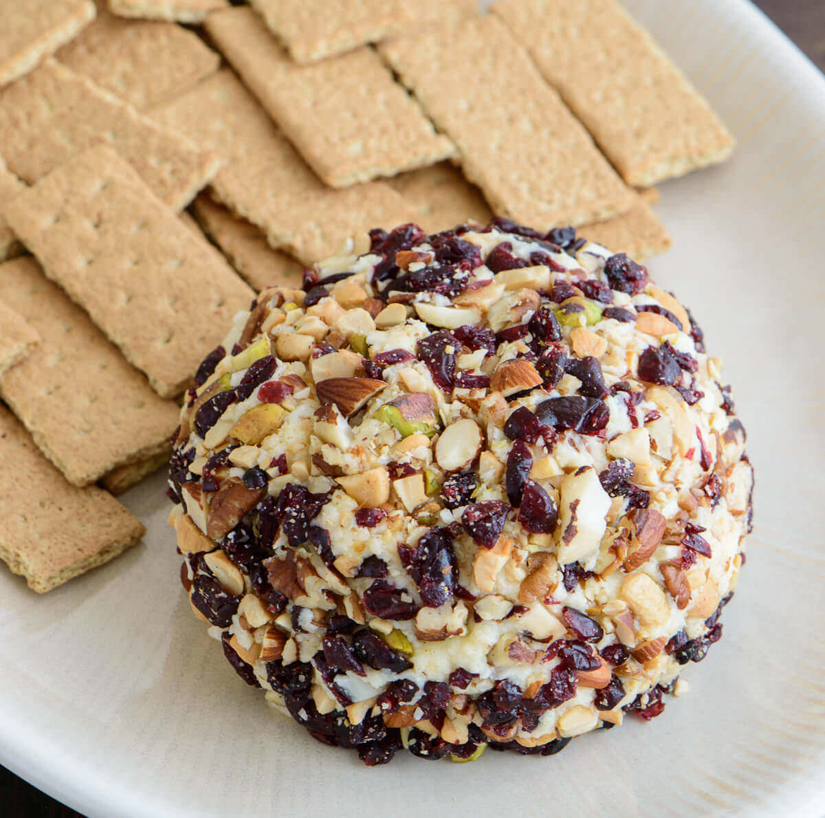 Dessert Cheese Ball with Cranberries and Mixed Nuts