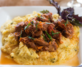 Pork Ragu with Basil Polenta