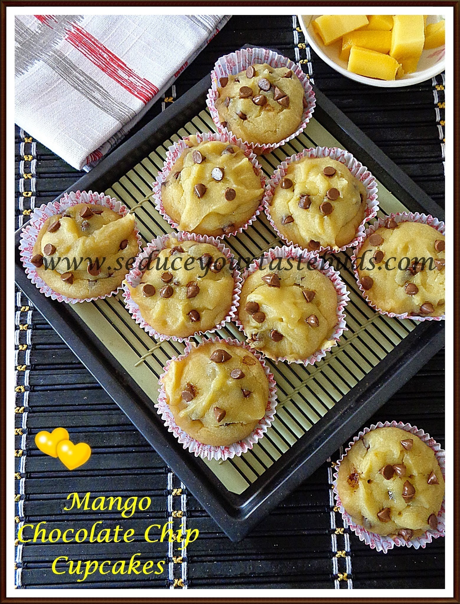 Eggless Mango Chocolate Chip Cupcakes | Baking with Fruits
