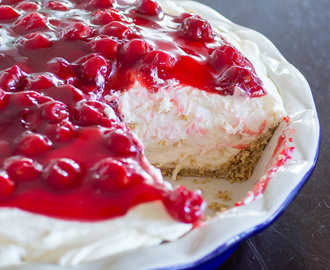 No Bake Cherry Cheesecake Fluff Pie