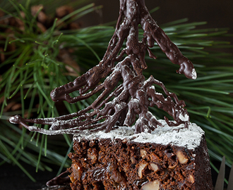 Luxury Chocolate Fruit Cake with Rum - Best wishes for a Happy Holiday Season!