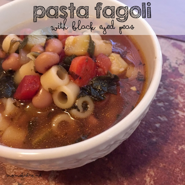A Lucky Recipe To Bring You Fortune In 2016!  Easy Pasta Fagoli (Pasta Fazool) with Black Eyed Peas