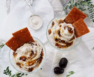 Vegan Raw Coconut Ice Cream with Caramelized Sourdough Crisp and Date Syrup