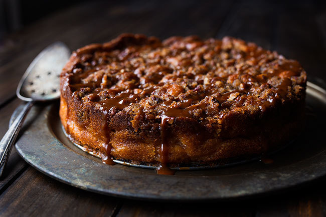 Apple cider cake with salted caramel sauce