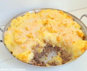 Hachis parmentier avec des restes de jambon entier et cheddar fumé (Shepherd's pie with leftovers of whole ham and smoked cheddar)