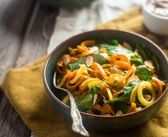 Sweet Potato Noodles and Apple Spinach Salad with Almond Dijon Vinaigrette {Vegan + Whole 30}