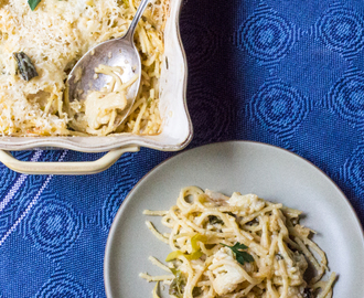 Cauliflower Tetrazzini with Poblano Peppers | #SundaySupper