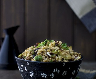 Warm Millet Salad with Brussels Sprouts, dried Cranberries and Walnuts