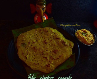 Raw plantain pancake with carrot chutney