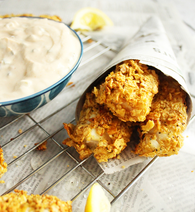 Crispy Baked Fish Sticks with Greek Yogurt Tartar Sauce