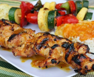 Sticky Orange Ginger Chicken Kabobs