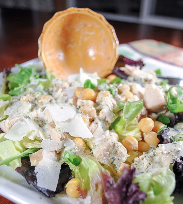 Chicken Salad with Chickpeas, Parmesan Cheese and a Lemony Italian Dressing