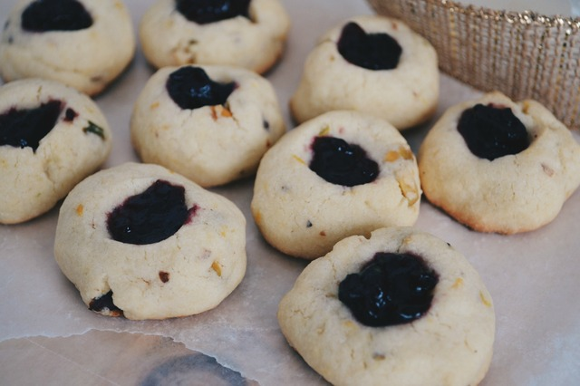 Thumbprint Cookies with Pistachios, Orange Zest and Black Currant Jam