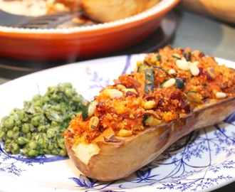 Stuffed Butternut Squash with Spiced Cous Cous, Seasonal Vegetables and Pine Nuts, Served with Minty Mushy Peas