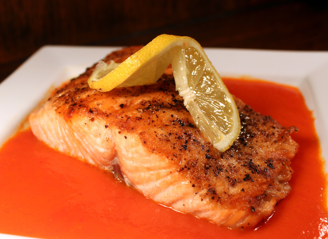 Seared Salmon with Red Pepper Sauce