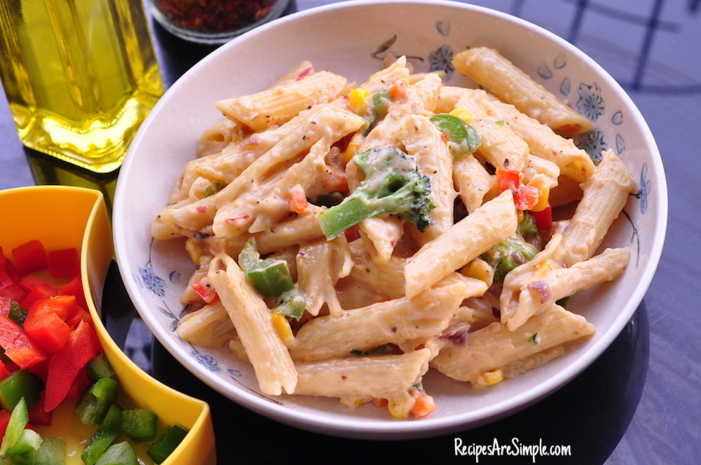 White Sauce Pasta |  Creamy Penne Pasta with Vegetables