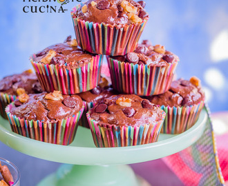 Eggless Whole Wheat Banana Chocolate Muffins