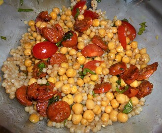 Giant Couscous, Chickpea and Chorizo Salad with an Orange and Pomegranate Dressing Recipe