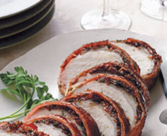 Bacon-Wrapped Pork Loin With Cherries