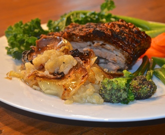 Slow Roasted Za'atar and Garlic Infused Pork Belly with Boulangere Potatoes