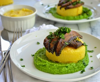 Balsamic Portabella Mushrooms over Polenta and Green Peas Puree topped with Gremolata